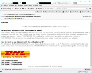 Esempio, via falsa mail dhl, del ransomware TeslaCrypt